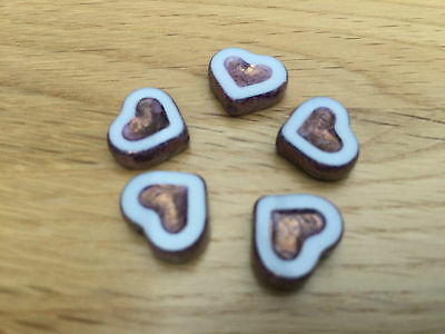 High Quality Czech Table Cut & Pressed Glass Heart Beads 14 x 12mm 5 Beads Loose