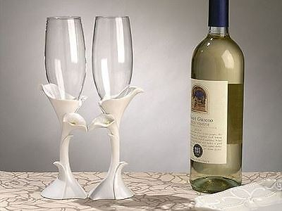 Pair of Calla Lily Toasting Wedding Party Wine Champagne Flutes Glasses