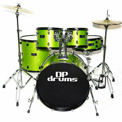 5 Piece Drum Kit Lime Green Sparkle Pro Stands Cymbals Stool 5 Year Warranty