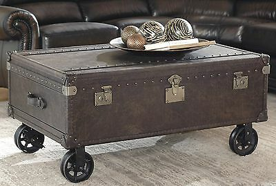 """45"""" L trunk coffee table iron casters industrial dark brown leather 2 drawers"""