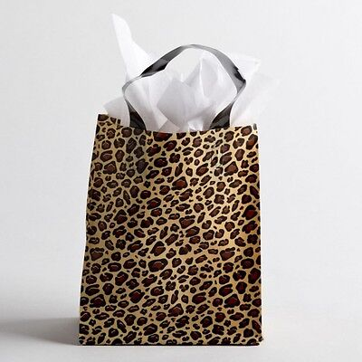 "8""x10 Medium Leopard Print Plastic Retail Merchandise Shopping Gift Frosty Bags"