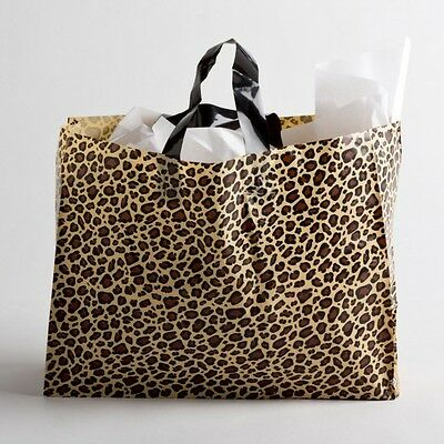 """16""""x12 Large Leopard Print Plastic Retail Merchandise Shopping Gift Frosty Bags"""