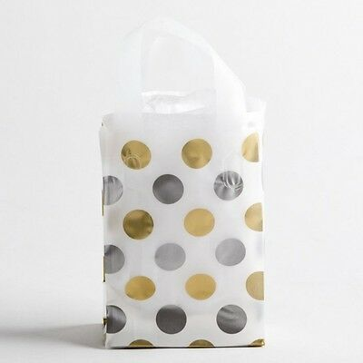 5x7 Small Silver & Gold Polka Dot Plastic Merchandise Shopping Gift Frosty Bags