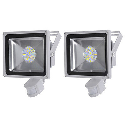 2X 50W Cool White LED PIR Motion Sensor Flood Light Outdoor security Lamp