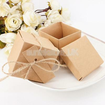 50pcs Shabby Rustic Wedding Table Favor Kraft Candy Gift Boxes Tags Rope