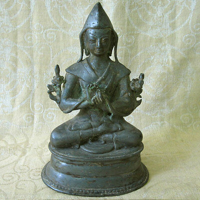 Antique White Bronze Tsongkhapa Statue Found Buried In Pot Nepal Tibet Unusual