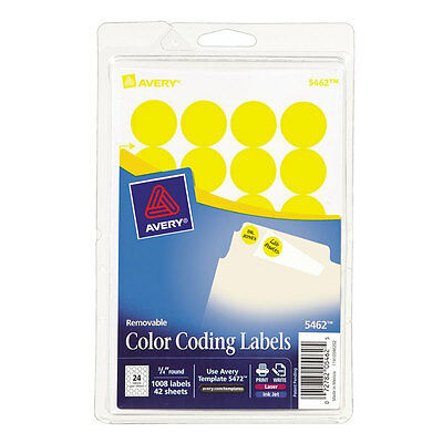 """Avery Yellow Removable Color Coding Labels 5462, 3/4"""" Round, Pack of 1008"""