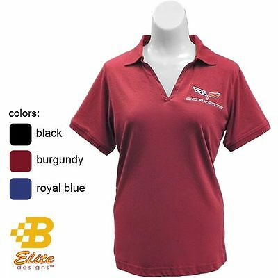 650066d0 C6 Corvette Ladies Embroidered Jersey Polo Shirt Black Burgundy Blue -  Clearance