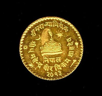 1956 / Vs2013 Gold Nepal 1/2 Ashraphi Coin Mahendra Coronation