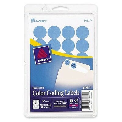 """Avery Light Blue Removable Color Coding Labels 5461, 3/4"""" Round, Pack of 1008"""