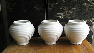 Vintage Hull Cream Pottery Urn Beehive Vases Set Of 3 Planters Shabby Chic