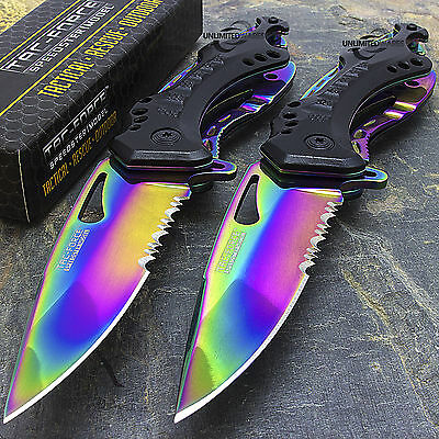 """8"""" TAC FORCE RAINBOW Spring Assisted TACTICAL FOLDING KNIFE Blade Open Pocket"""