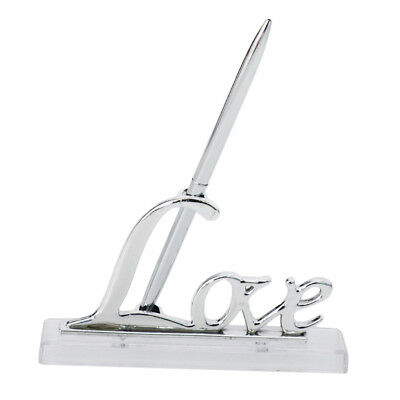 Wedding Party Silver Guest Book Signing Pen w/ Love Sign Holder Table Decor