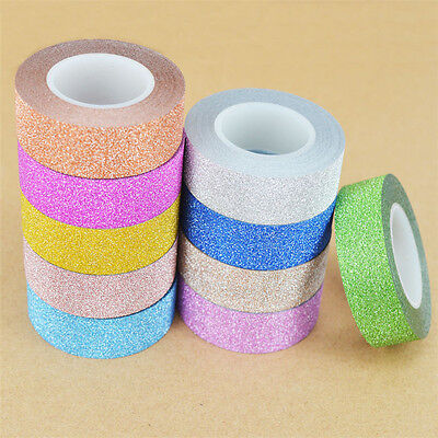 10M DIY Self Adhesive Glitter Washi Masking Tape Sticker Craft Decor New