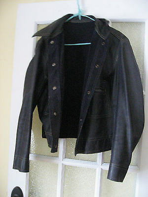 Vintage 60s 70s Navy Blue Leather Suede Jacket Two Way Moto Hippie Boho Mod