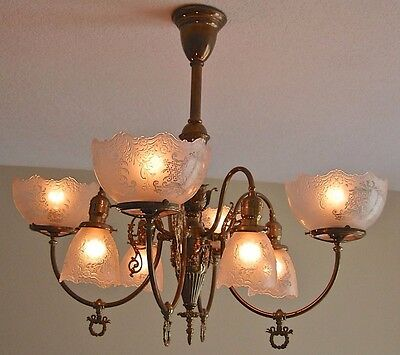 Antique chandelier 8 arm with acid etched glass shades RARE gas and electric