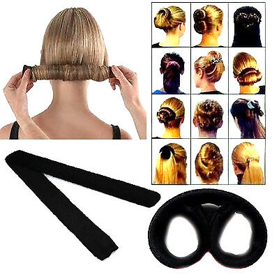 Women's Magic Hair Bun Snap Styling Donut Former French Twist Band Maker Tool UP