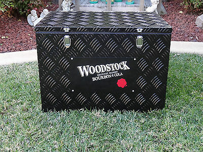Woodstock Bourbon Checkerplate Toolbox Beer Can Drink Ice Box Cooler