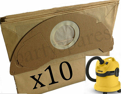 10 x Strong Dust Bags for Karcher WD2.200 MV2 IPX4 MV3 Vacuum Cleaner Hoover