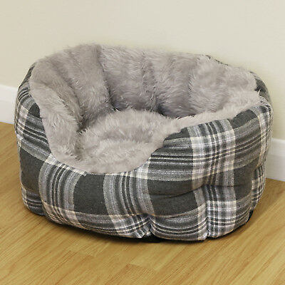 Small Grey Check Thick Plush Soft Dog/Puppy/Cat Pet Bed Furry/Warm Cushion S