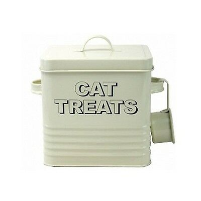 Enamel Vintage Retro Style Cat Treats Food Box Storage Container Tin With Scoop