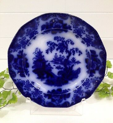 ANTIQUE Ironstone Flow Blue Shanghae PLATE 1840-1870 J. Furnival & Co. JF & Co