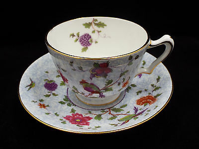 Antique Crown Staffordshire Tea Cup & Saucer, #592627, Birds, Flowers & Berries