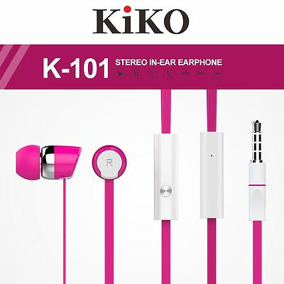 22Lot/Pcs Hot Pink Super Stereo 3.5mm Earphone Earbud with Mic for iPhone Galaxy