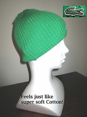 a234917d8d58 Lacoste 100% Wool Ribbed Knit Beanie Hat w  signature logo Croc in green