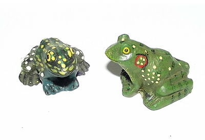 "TWO resin Land Sea collectibles tiny miniature FROG toad figurine statue 1"" tree"