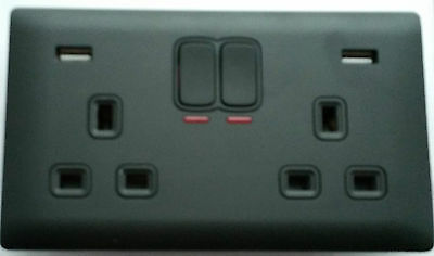 Double 2 Gang Electrical Plug Socket With 2 USB Screwless Faceplate Black