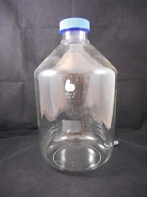 Bellco Schott DURAN Glass 10L Round Media Storage Bottle w/ Side Hose Connection