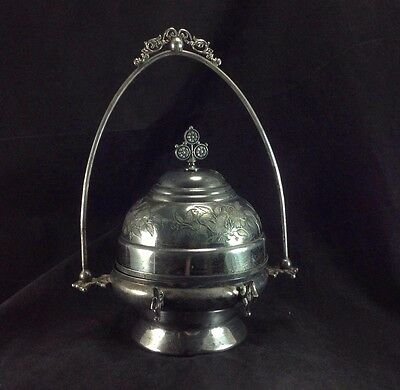 Wilcox Silverplated Covered Cheese Butter Domed Dish Antique Birds Handle Insert