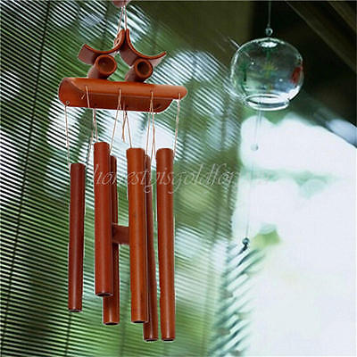 Bamboo Wood Wind Chimes Tubes Outdoor Bells Garden Decoration Happiness Ringings
