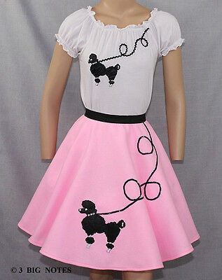 """3 PC Black 50/'s Poodle Skirt outfit Girl Sizes 7,8,9 Waist 20/""""-26/"""""""
