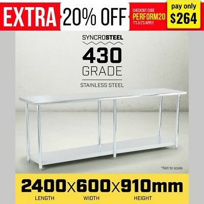 2400 x 600 STAINLESS STEEL 430 COMMERCIAL WORK BENCH TABLE