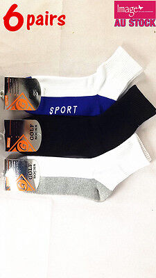 6 Pairs Golf Socks Sports Socks Cotton Casual with Cushion Foot Size 11-14 1890