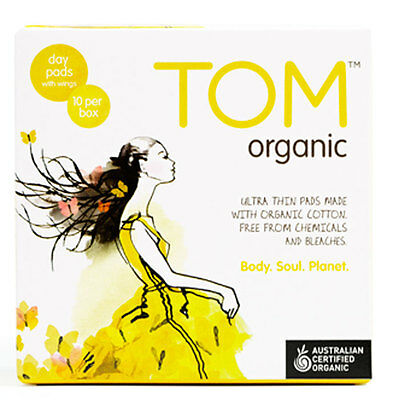 New 10pc TOM Organic Day Pads w/ Wings Ultra Thin Chemical-Free Hypoallergenic