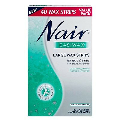 New 40pc Nair Easiwax Large Wax Strips Legs & Body Hair Removal +Aftercare Wipes