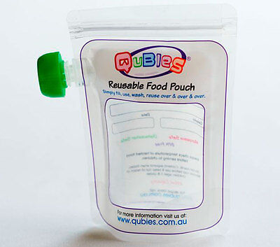 New 10pc Qubies Reusable Food Pouches Refillable Microwave Friendly Storage
