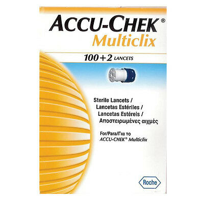 New 102pc Accu-Chek Multiclix Lancets Diabetes Blood Sugar Level Glucose Monitor