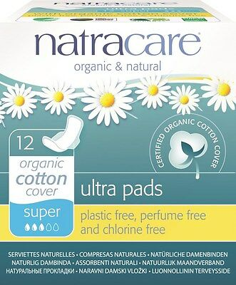 New 12 Natracare Organic Period Pads Sanitary Napkins Ultra Thin Super w/ Wings