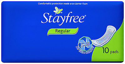 New 10 Regular Stayfree Pads Anti-Leak Extra Comfort w/ Natural Plant Extracts
