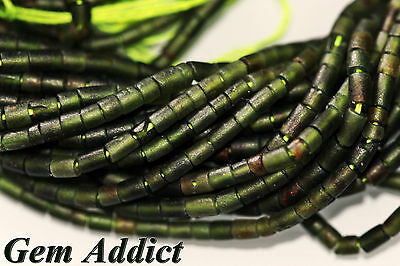 "Natural 2mm Dark Green Nephrite Jade Heishi/Tube/Pipe Beads 13"" Strand"