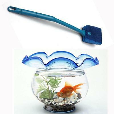 1pc Plastic Handle Aquarium Fish Tank Clean Brush Scrubber Algae Cleaner Blue DD
