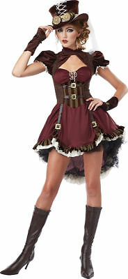 Adult Steampunk Girl Women Brass Emo Movie Goth Halloween Costume Cosplay 01281