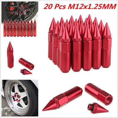 Red Spiked Extended Tuner 60mm Lug Nuts Wheels / Rims M12X1.25 Aluminum 20pcs