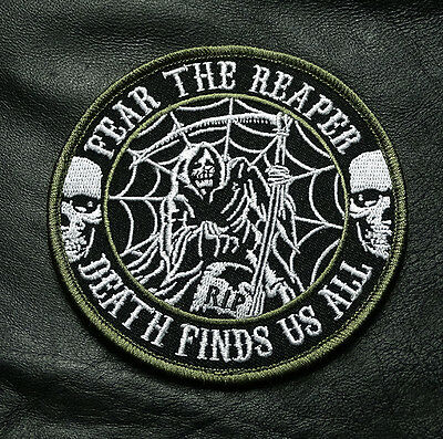 Fear The Reaper Death All Find Us Dead Man Skull Tactical Morale Hook Patch