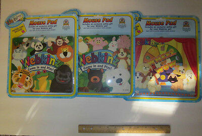 Webkinz Mouse Pads  3 assorted in lot new unopened  with codes