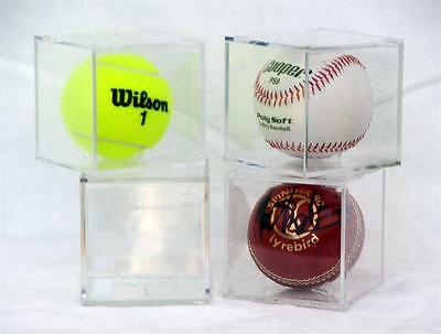 BASEBALL OR CRICKET BALL or TENNIS BALL GRANDSTAND DISPLAY CUBE FOUR PACK